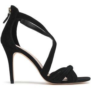 NEW Sandro Elisa Knotted Suede Heeled Sandal